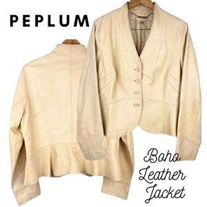 Genuine Leather Peplum V-Neck Jacket | Cream Nude